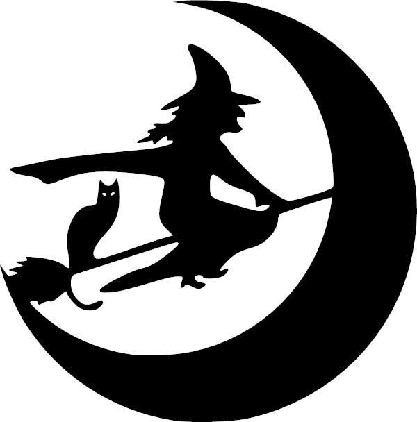 600x608 Witch Broom Moon Cat Halloween Vinyl Decal Vinyl Decal Halloween