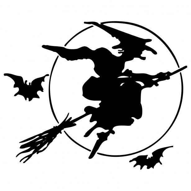 615x615 Witch On Broomstick Silhouette Free Stock Photo