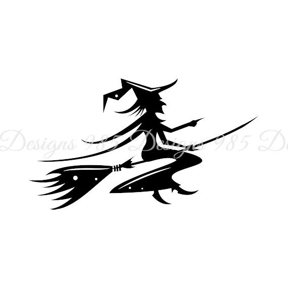 570x570 Witch On Broom Halloween Svg For By 985 Graphic Designs On Zibbet