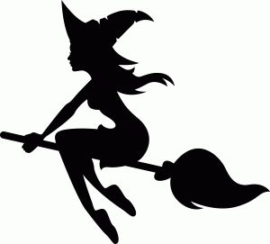 Witch On Broomstick Silhouette