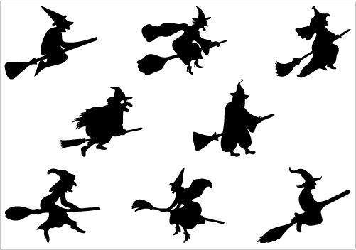 501x352 Halloween Witch Flying On A Broomstick Vector Graphics