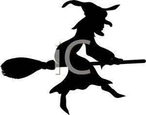 300x236 Silhouette Of A Wicked Witch Sitting On Her Broomstick