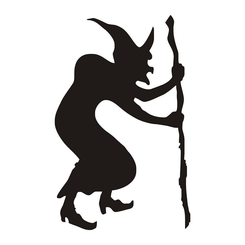 930x930 Hunchback Witch Halloween Wall Stickers, Halloween Wall Decals