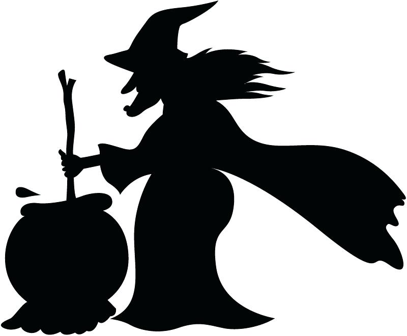 800x660 Witch Window Silhouette Witch With Cauldron And Broom Wall