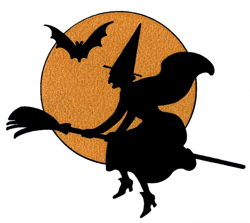graphic relating to Printable Halloween Decorations called Witch Silhouette Printable at  Absolutely free for