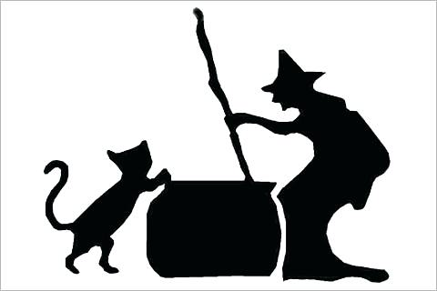 480x320 Witch Silhouette Template Flying Witch Silhouette Retro