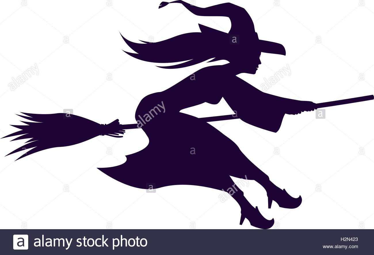 1300x889 Silhouette Witch Flying On Broom. Halloween Symbol. Vector Stock