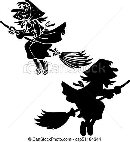 432x470 Silhouette Witch Grandmother Yaga, Halloween On A White Eps