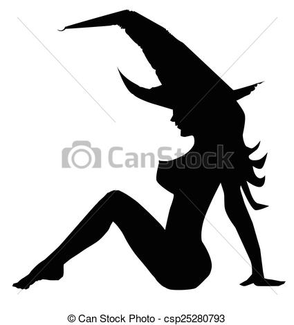 425x470 An Isolated Trucker Witch Silhouette For Halloween Eps Vectors