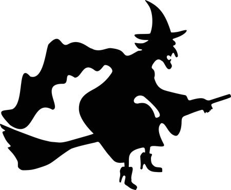 450x370 Witch Flying Silhouette