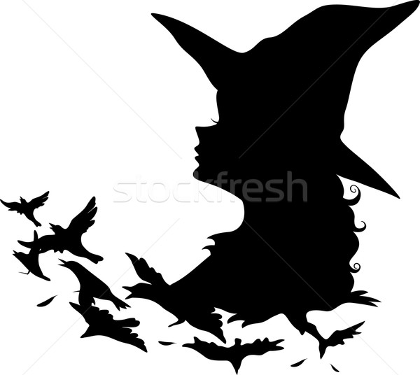 600x536 Witch Silhouette Vector Illustration Lenm ( 4776257) Stockfresh