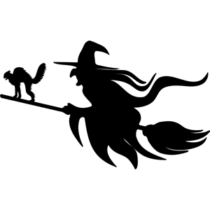 300x300 Witch And Cat On Broomstick Silhouette Clipart, Cliparts Of Witch