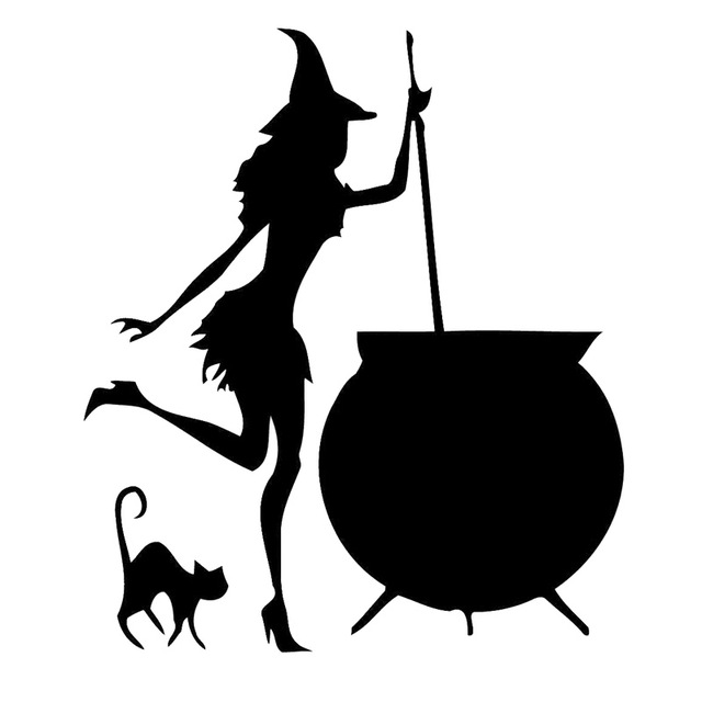 Witch With Cauldron Silhouette