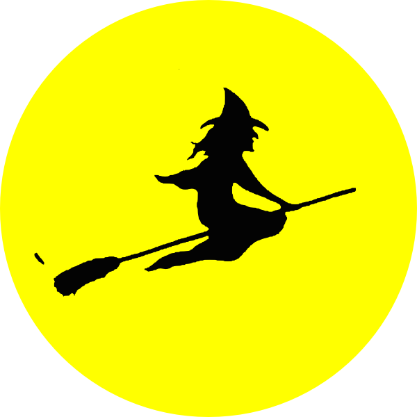 600x600 Free Flying Witch Silhouette, Hanslodge Clip Art Collection