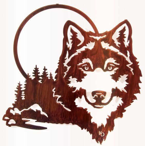 564x566 20 Wolf And Moon Wall Art Wood Burning