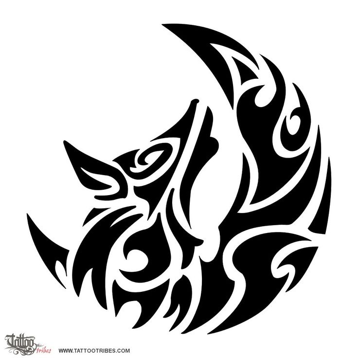 736x736 Collection Of Tribal Full Moon Wolf Howl Tattoo On Biceps