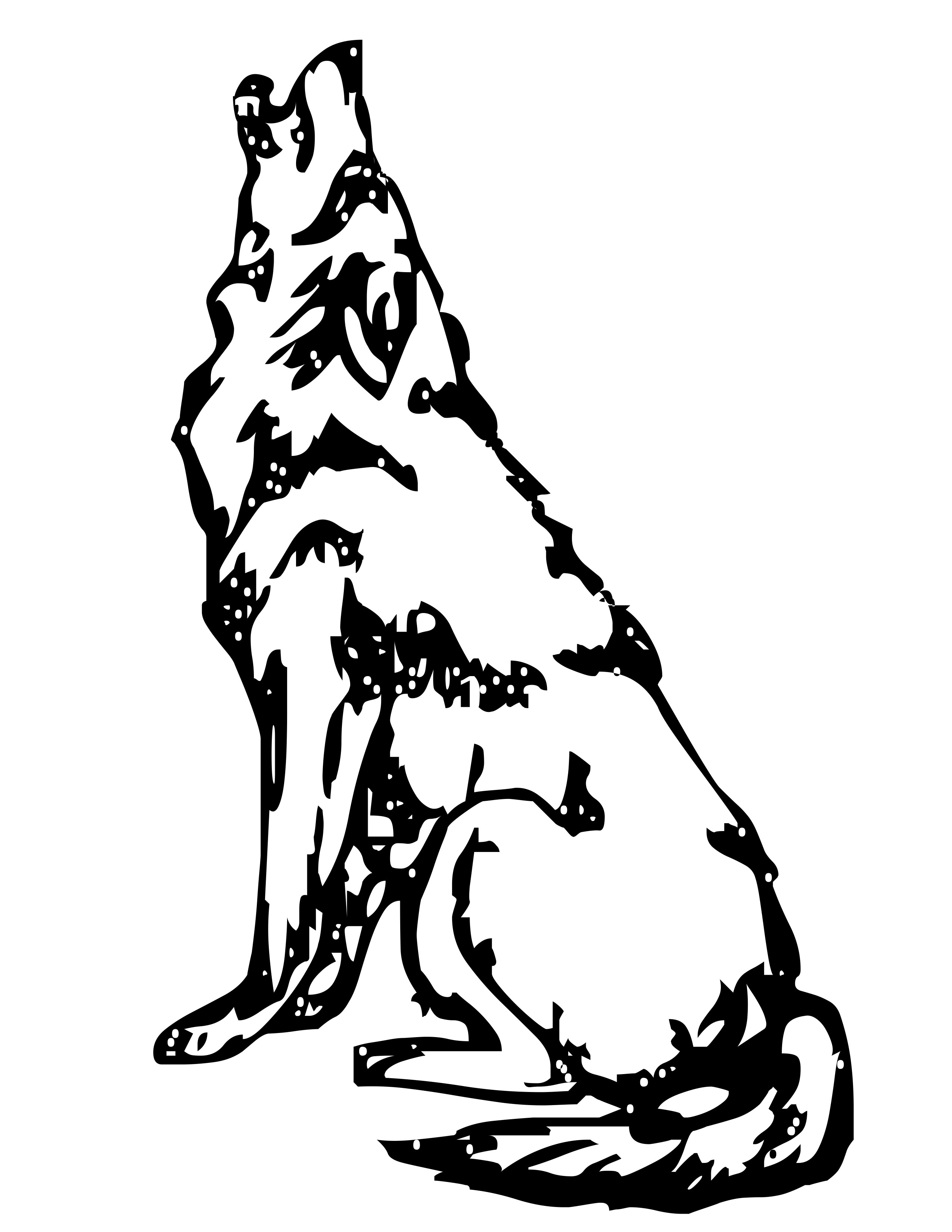 2550x3300 Enjoyable Design Clipart Wolf Christmas Coloring Sheets Silhouette