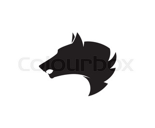 320x265 Silhouette of a wolf head. Vector stylized logo Stock Vector