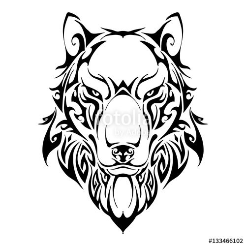 500x500 Wolf head symmetry balance tribal tattoo silhouette vector with