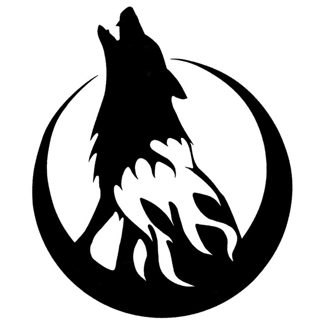 640x640 13.115CM Howling Wolf Moon On Fire Car Styling Decal Car Body