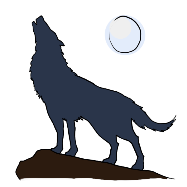600x600 Howling Wolf Clipart Moon Clipart