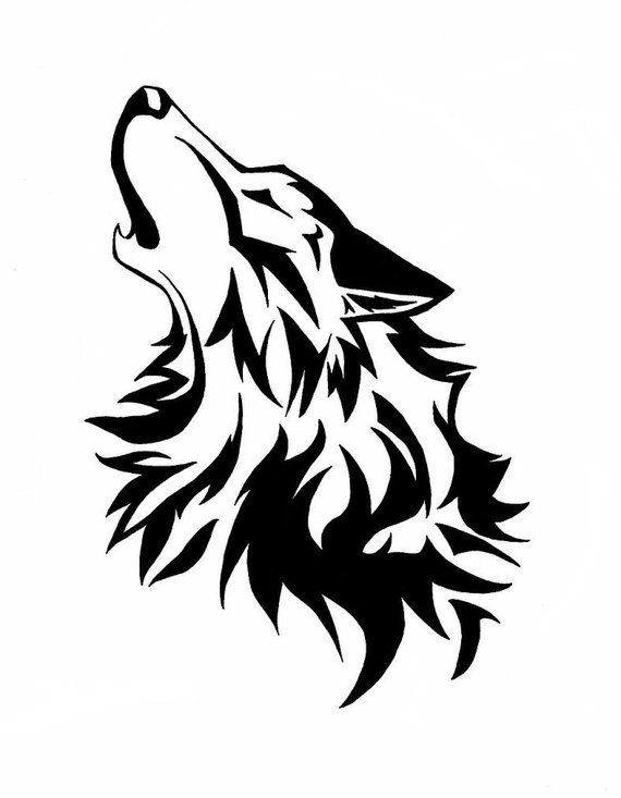 570x733 Howling Wolf Wood Burningcircuit Silhouette Wolf