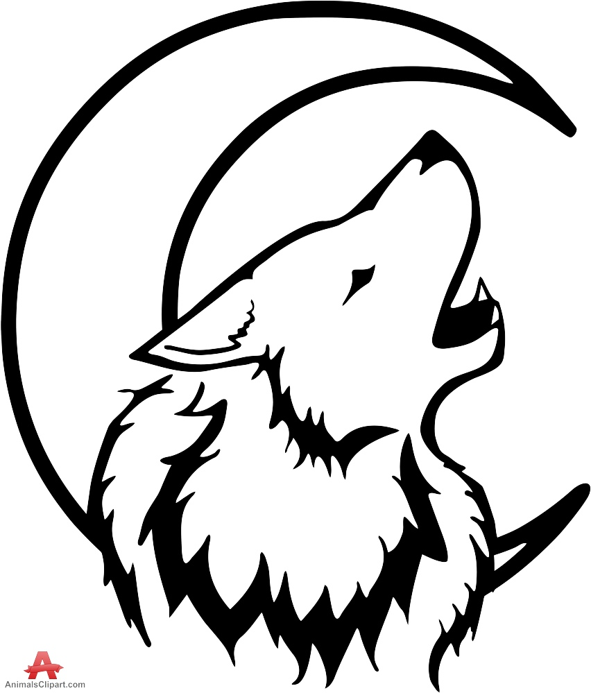 852x999 Tribal wolf howling with moon drawing clipart free