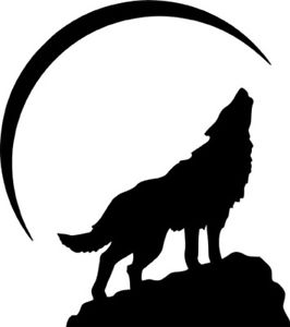 266x300 Wolf Howling Half Moon Silhouette Wall Car Window Laptop Vinyl