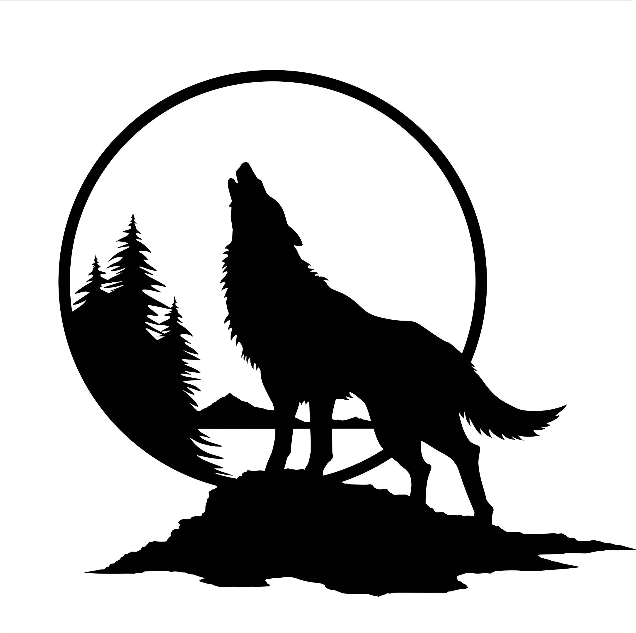 2171x2162 Wolf Wall Decal Wolf Howling