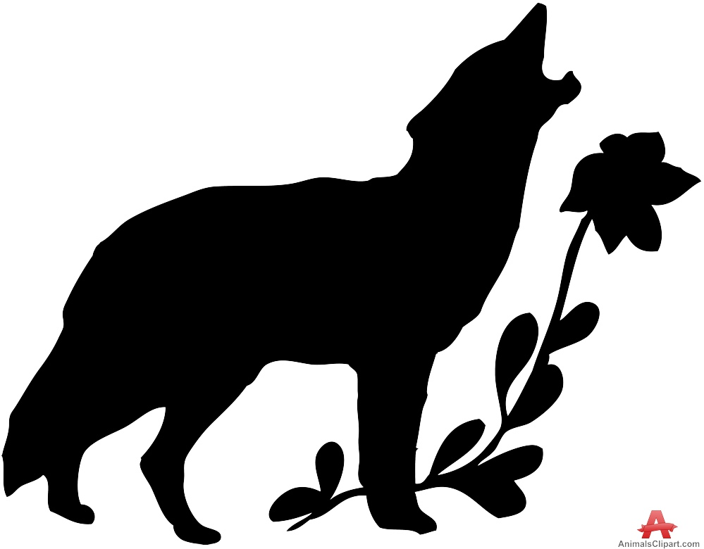 999x780 Wolf Howling With Flowers Silhouette Free Clipart Design Download