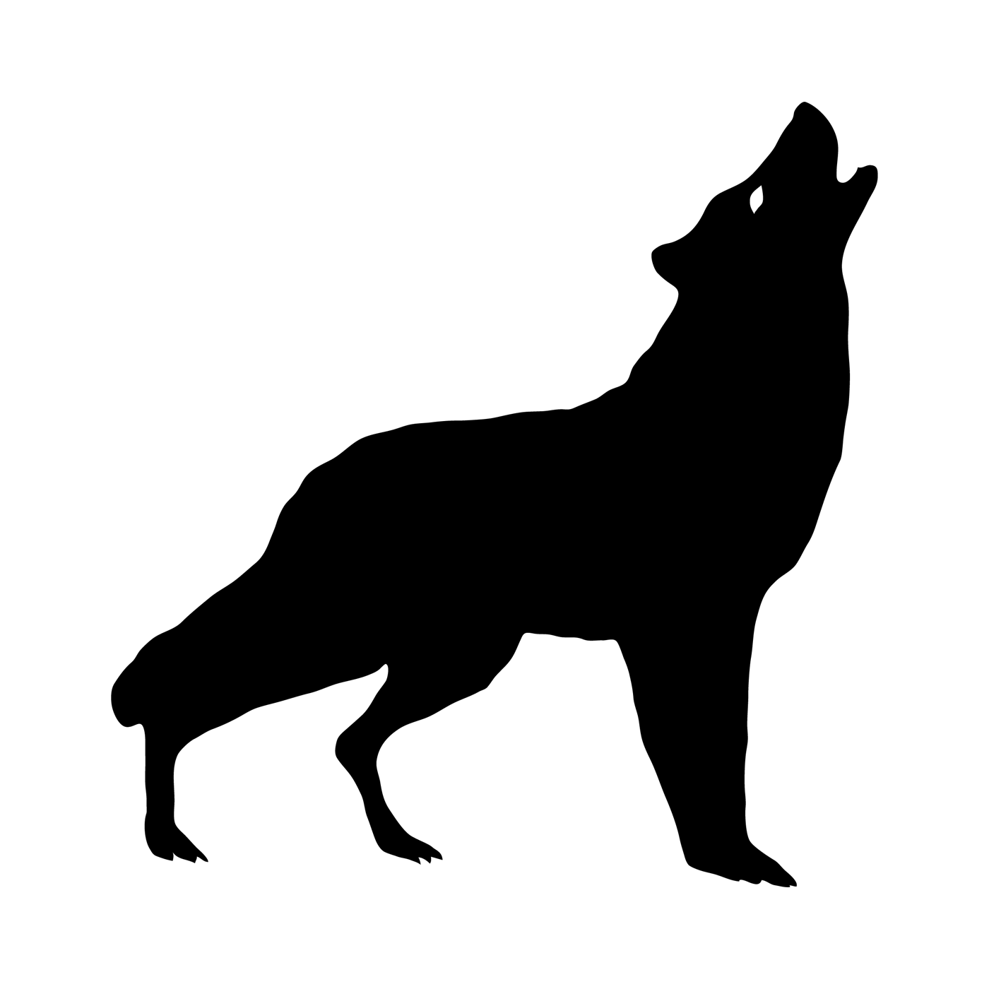 1400x1400 Howling Wolf Silhouette