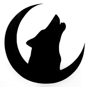 300x300 Wolf Quarter Moon Silhouette Car Truck Window Vinyl Decal Sticker