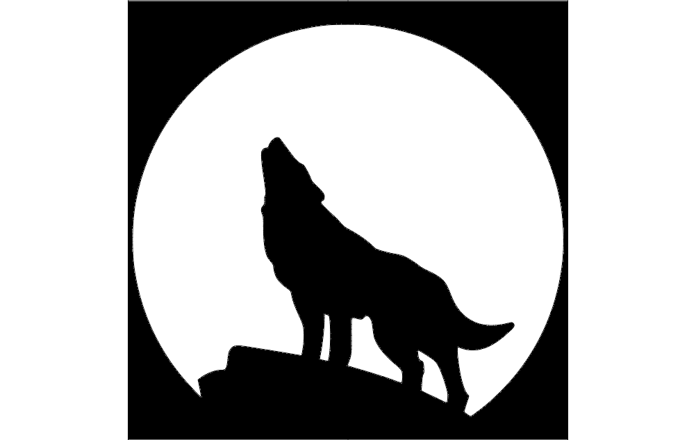 1002x633 Wolf With Moon Dxf File Free Download