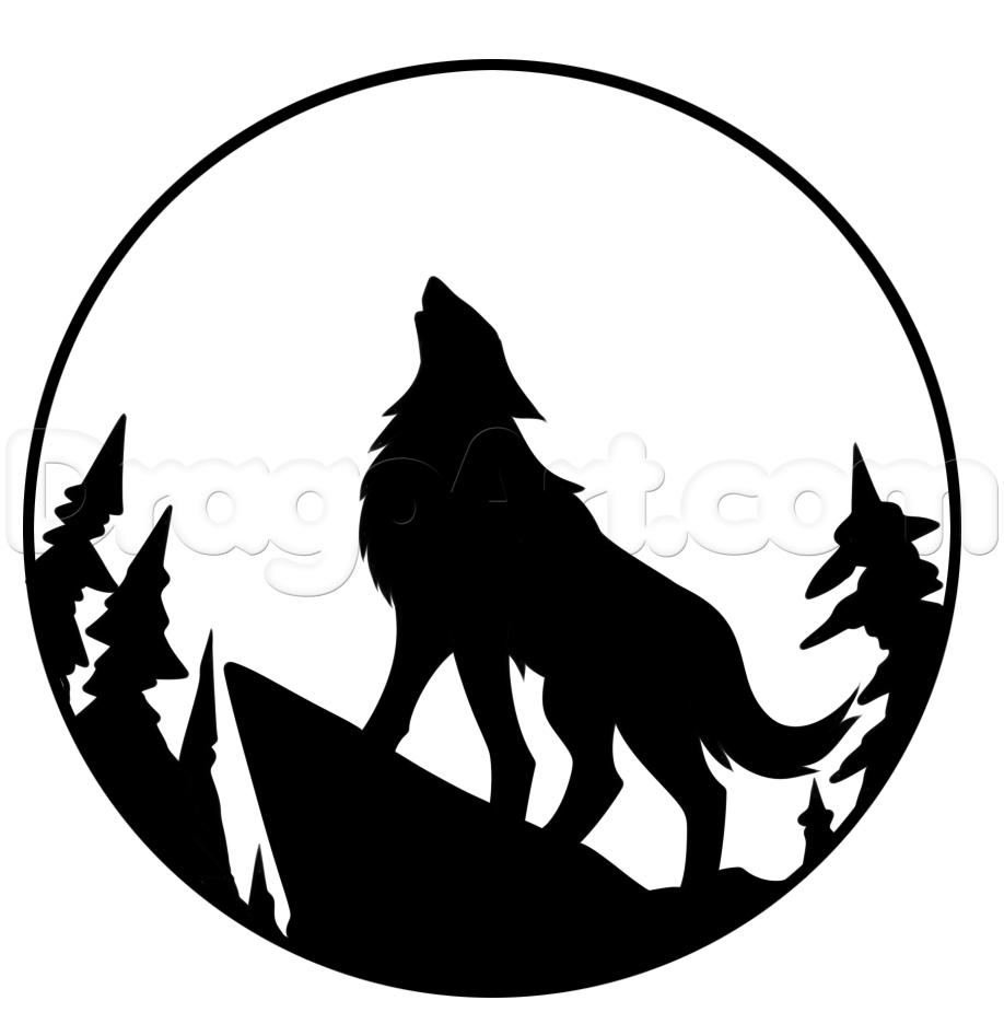 918x936 Drawn howling wolf halloween