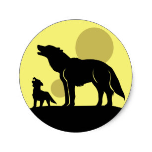 307x307 Pack Of Wolves Silhouette With Full Moon Gifts On Zazzle Nz