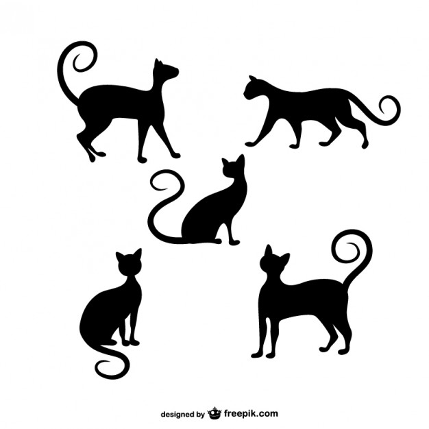 626x626 Cats Silhouettes Pack Vector Free Download