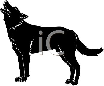 350x289 Picture Of A Silhouette Of A Howling Wolf In A Vector Clip Art