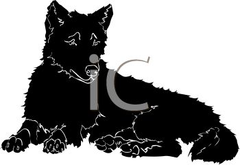 350x240 Picture Of A Silhouette Of A Wolf Laying Down In A Vector Clip Art