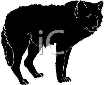350x289 Picture Of A Silhouette Of A Wolf Standing In A Vector Clip Art