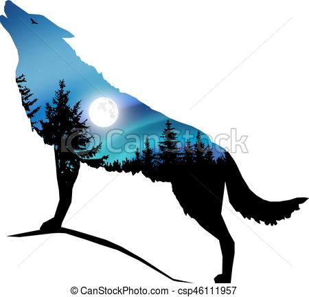 450x432 Silhouette Of Wolf. Silhouette Of Howling Wolf With Clipart