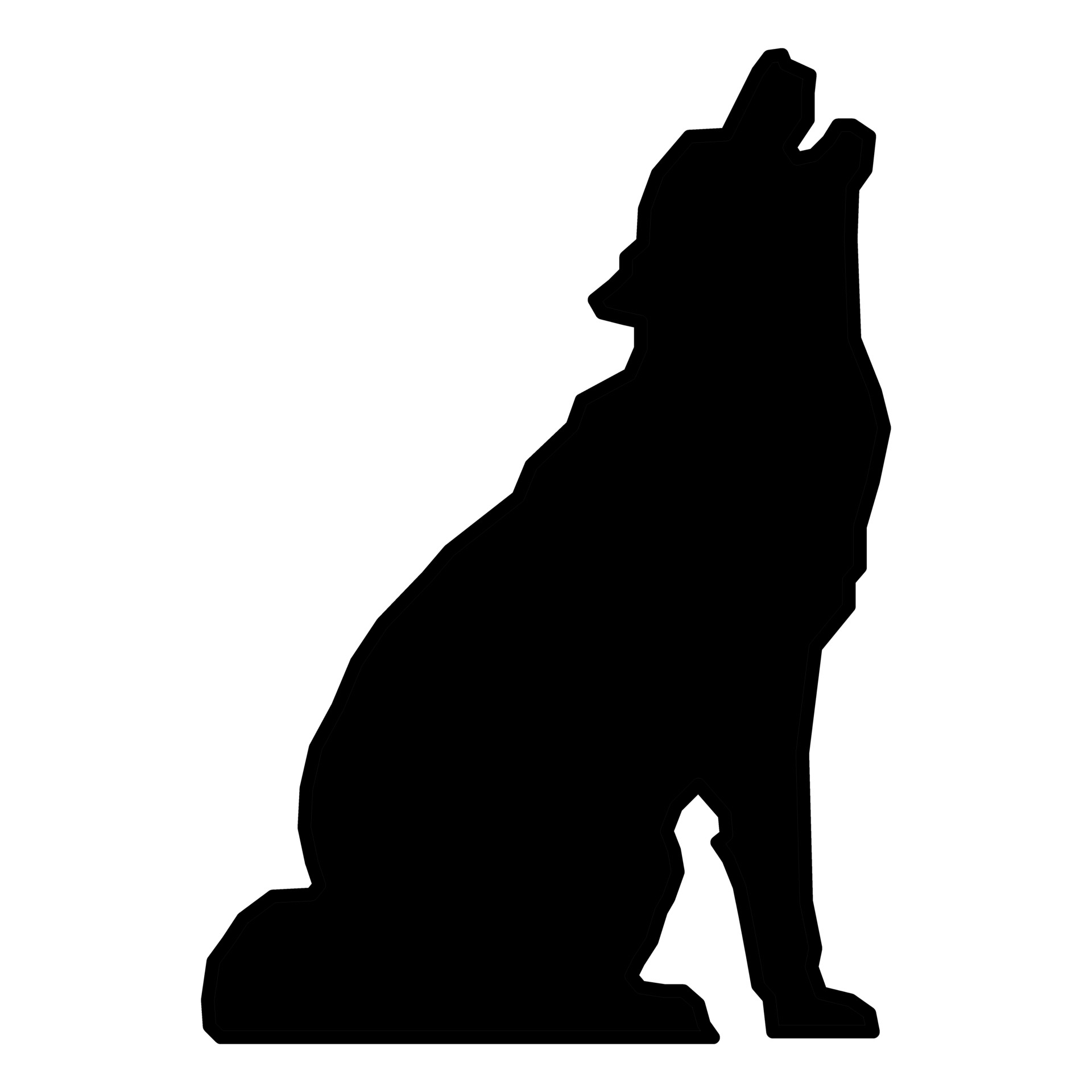1920x1920 Drawn Howling Wolf Public Domain
