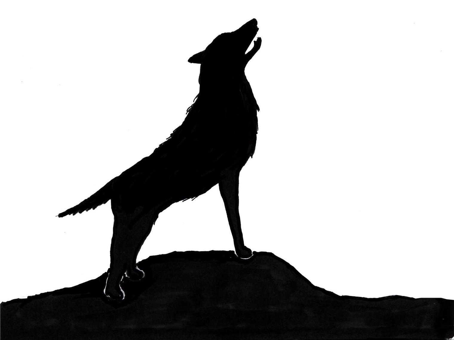 1520x1138 Clip Art Howling Wolf Silhouette Clip Art