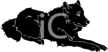 350x170 Picture Of A Silhouette Of A Wolf Laying Down In A Vector Clip Art