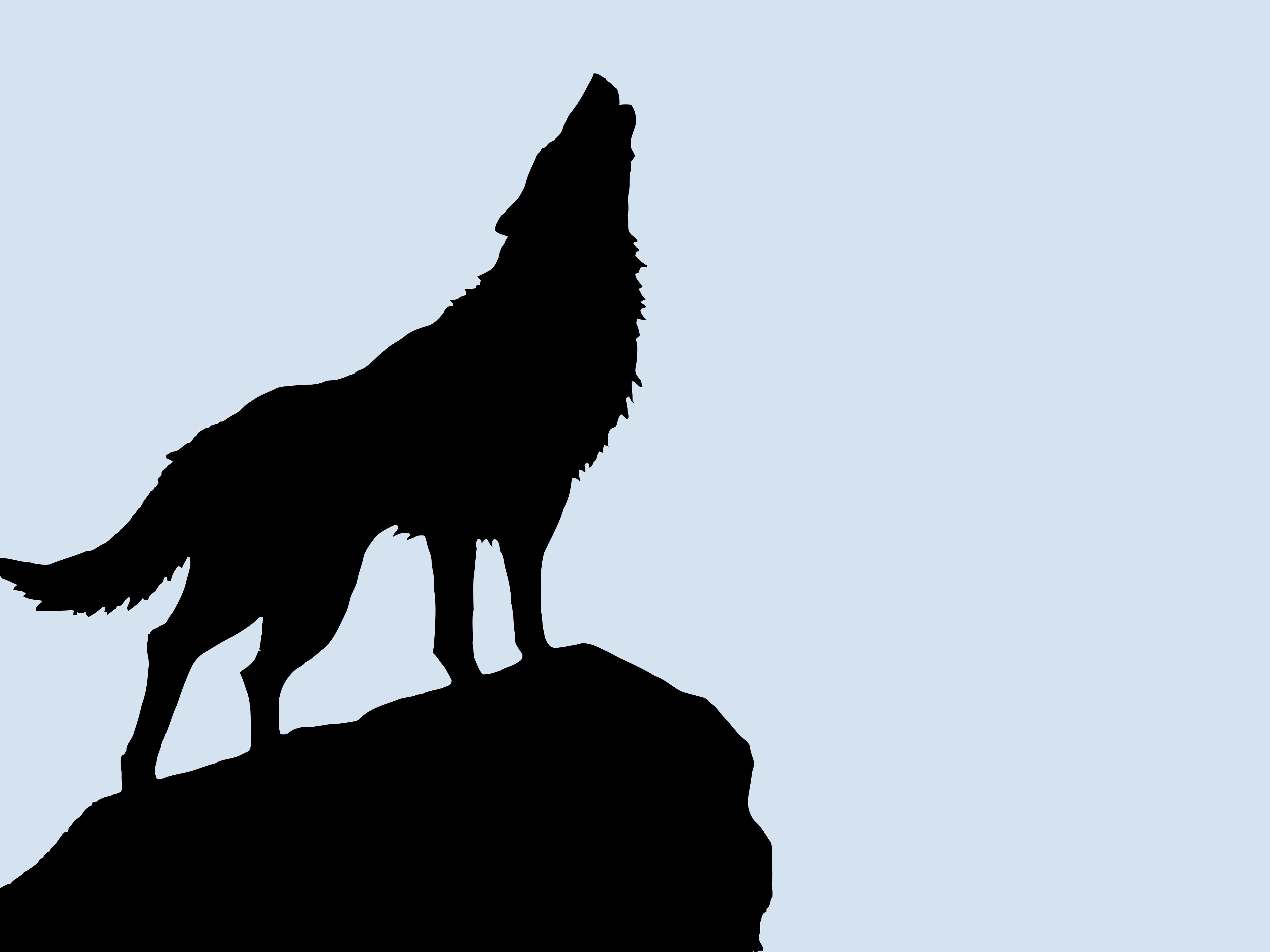 4096x3072 Wolf Vectorized Silhouette Art High Resolution Hd Wallpaper