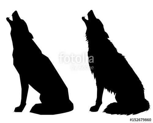 500x400 Silhouettes Howl A Wolf Or A Dog. Isolated Objects, Vector