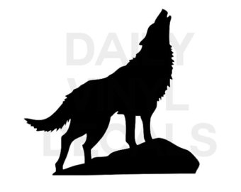 340x270 Alpha Male Howling Wolf Silhouette Wall Clock