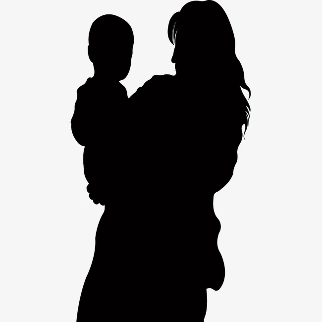 650x650 Silhouette Of Mother And Child, Sketch, Mother, Affection Png
