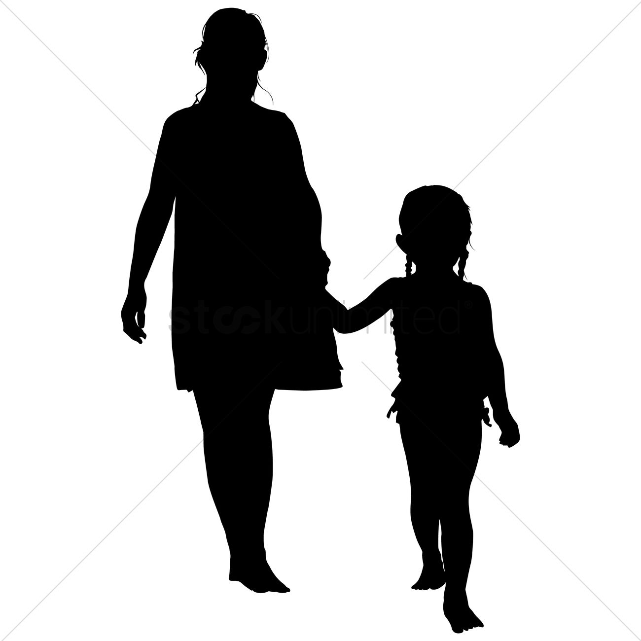 1300x1300 Silhouette Of A Mother With Her Child Vector Image