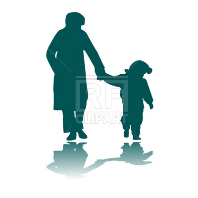 400x400 Woman And Child Silhouettes Royalty Free Vector Clip Art Image