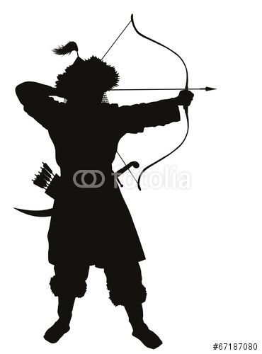 370x500 Vector Oriental Archer With Bow And Arrow Vector Silhouette. Eps